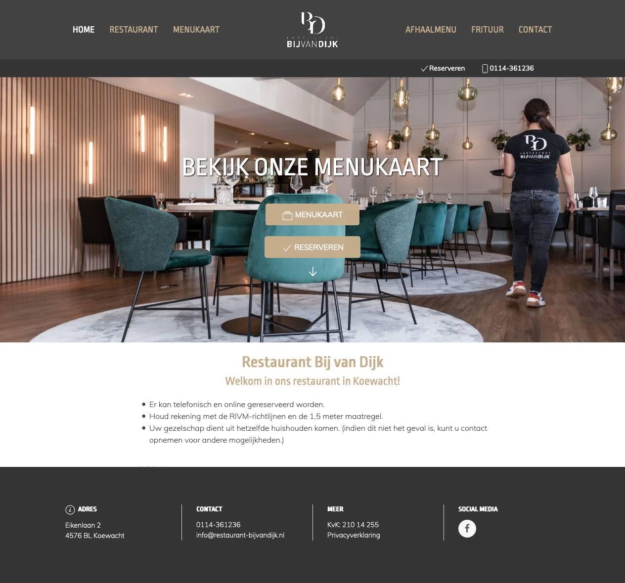 Website ontwikkeld voor restaurant